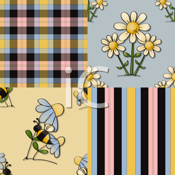 Royalty Free Clipart Image of Flowers and Bees