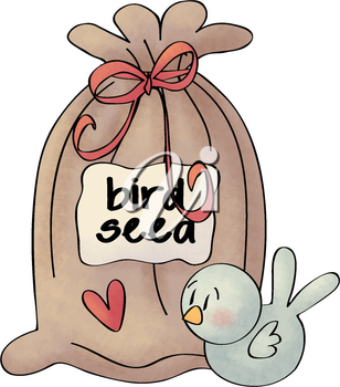 Royalty Free Clipart Image of a Bag of Bird Seed