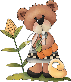 Royalty Free Clipart Image of a Farmer Bear