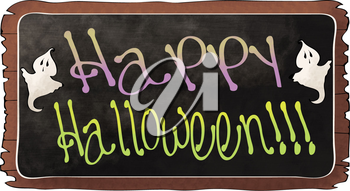 Royalty Free Clipart Image of a Happy Halloween Sign