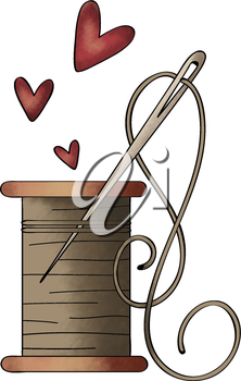 Royalty Free Clipart Image of a Needle and Thread