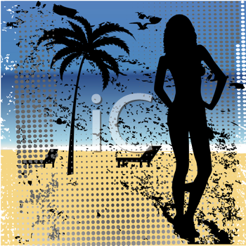 Royalty Free Clipart Image of a Grunge Beach Background With a Woman at the Side