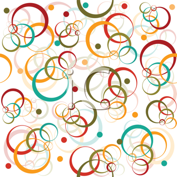Retro pattern with colored circles and dot