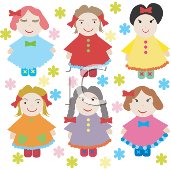Cute background with dolls