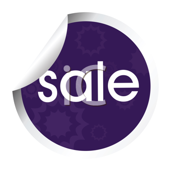 Royalty Free Clipart Image of a Purple Sticker With the Word Sale
