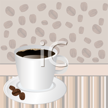 Royalty Free Clipart Image of a Cup of Coffee Over a Striped Coffee Bean Background