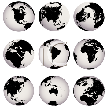 Royalty Free Clipart Image of a Set of Earth Globes