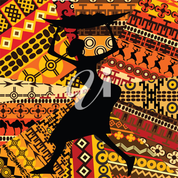 African woman on ethnic textures background