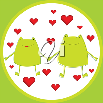 Card with cartoon frogs in love