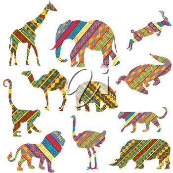 Set of African animals made of ethnic textures