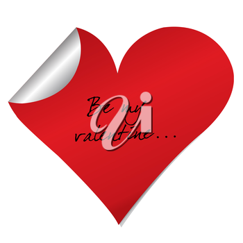 Heart sticker with Be my valentine text