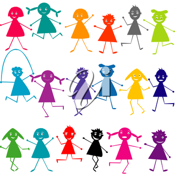 Set of doodle silhouettes of kids