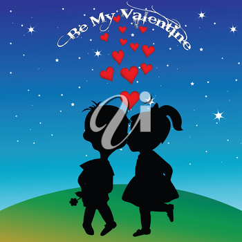 Boy and girl silhouettes kissing