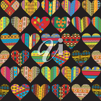 Patterned hearts collection, seamless background