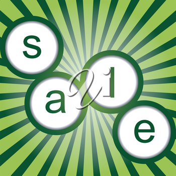 Sale poster with sunburst and round shapes