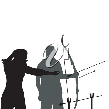 A female instructor teaching a man how to shoot bow