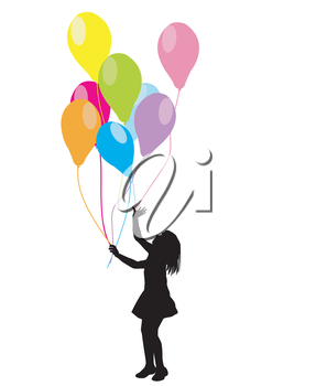 Girl silhouette with colorful balloons