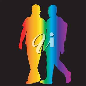 Gay silhouettes in rainbow colors on black background