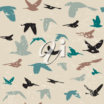 Vintage grunge background with silhouettes of birds
