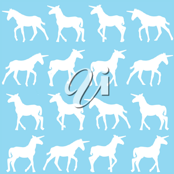 Unicorn silhouettes over blue background