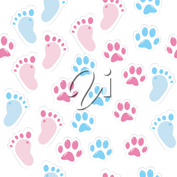 Seamless background with baby footprint and animal paws