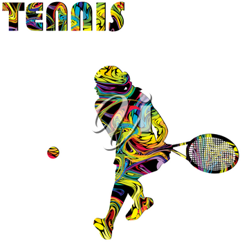 Tennis poster with colorful silhouette of a woman tennis player