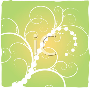Royalty Free Clipart Image of a Green Background With a Flourish