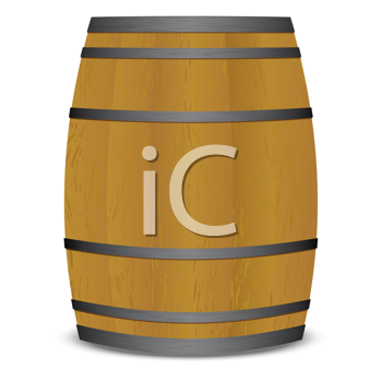 Royalty Free Clipart Image of a Wooden Beer Keg