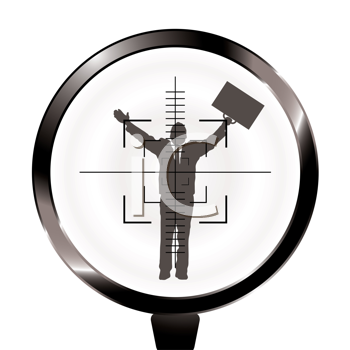 Royalty Free Clipart Image of a Man in a Suit Holding a Briefcase Up While Caught in Rifle Crosshairs