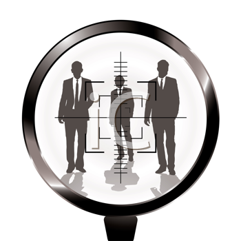 Royalty Free Clipart Image of Three Men in a Rifle Scope
