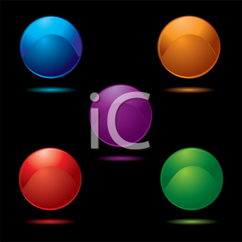 Royalty Free Clipart Image of a Five Buttons