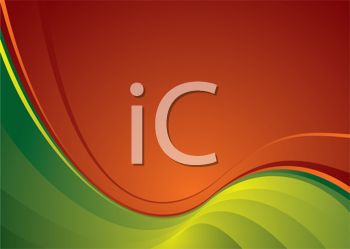 Royalty Free Clipart Image of a Wavy Orange and Green Background