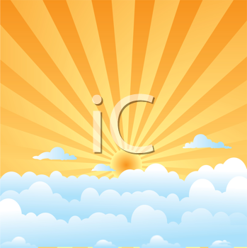 Royalty Free Clipart Image of Sun Shining Over Clouds