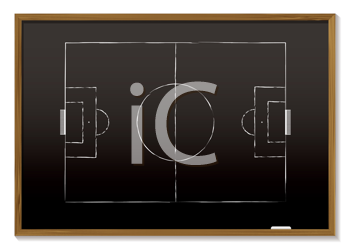 Royalty Free Clipart Image of a Soccer Field on a Blackboard