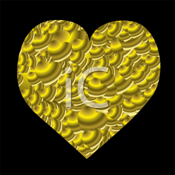 Royalty Free Clipart Image of a Gold Heart