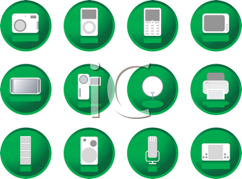 Royalty Free Clipart Image of Green Button Gadgets