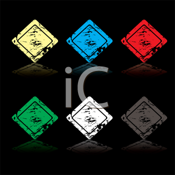 Royalty Free Clipart Image of Six Diamond Icons