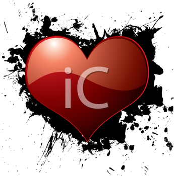 Royalty Free Clipart Image of a Heart on an Ink Blot