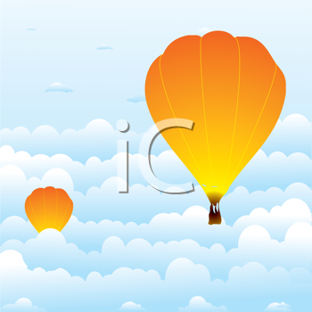 Royalty Free Clipart Image of Air Balloons in Clouds