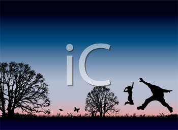 Royalty Free Clipart Image of a Happy Couple Jumping Against a Sunset