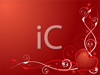 Royalty Free Clipart Image of a Red Background With a Heart in the Bottom Corner and Flourishes on the Side and Bottom