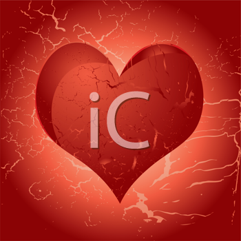 Royalty Free Clipart Image of a Heart on a Red Aged Background