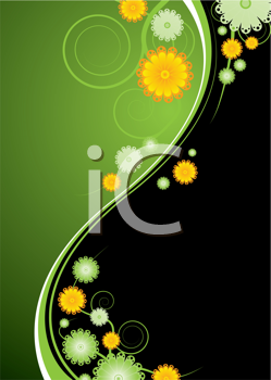 Royalty Free Clipart Image of a Green and Black Flower Background