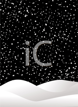 Royalty Free Clipart Image of a Night Sky and Snow