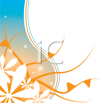 Royalty Free Clipart Image of an Orange and Blue Floral Background