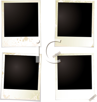 Royalty Free Clipart Image of Four Polaroids