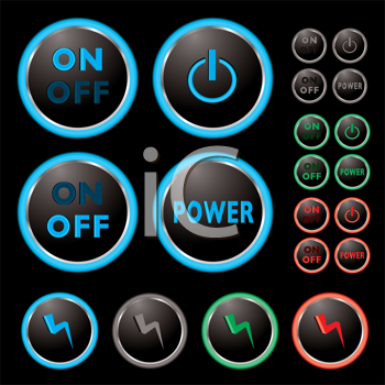 Royalty Free Clipart Image of Power Buttons
