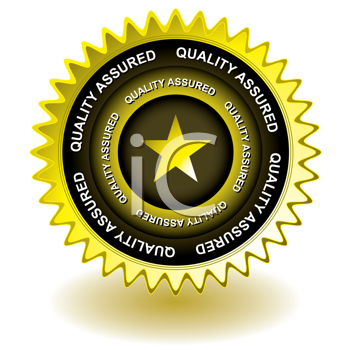 Royalty Free Clipart Image of a Gold Quality Assured Icon