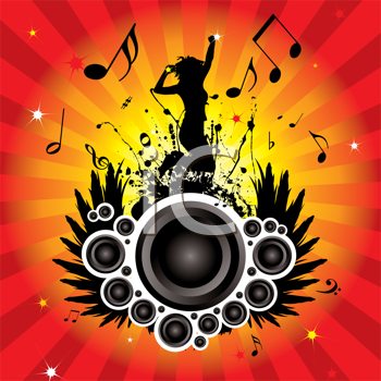 Royalty Free Clipart Image of a Girl Dancing Over a Speaker on a Musical Background