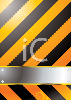 Royalty Free Clipart Image of a Warning Background With a Metal Plate